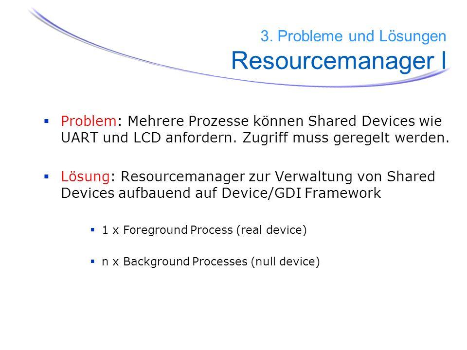 Problem: Mehrere Prozesse können Shared Devices wie UART und LCD anfordern. Zugriff muss geregelt werden. Lösung: Resourcemanager zur Verwaltung von S