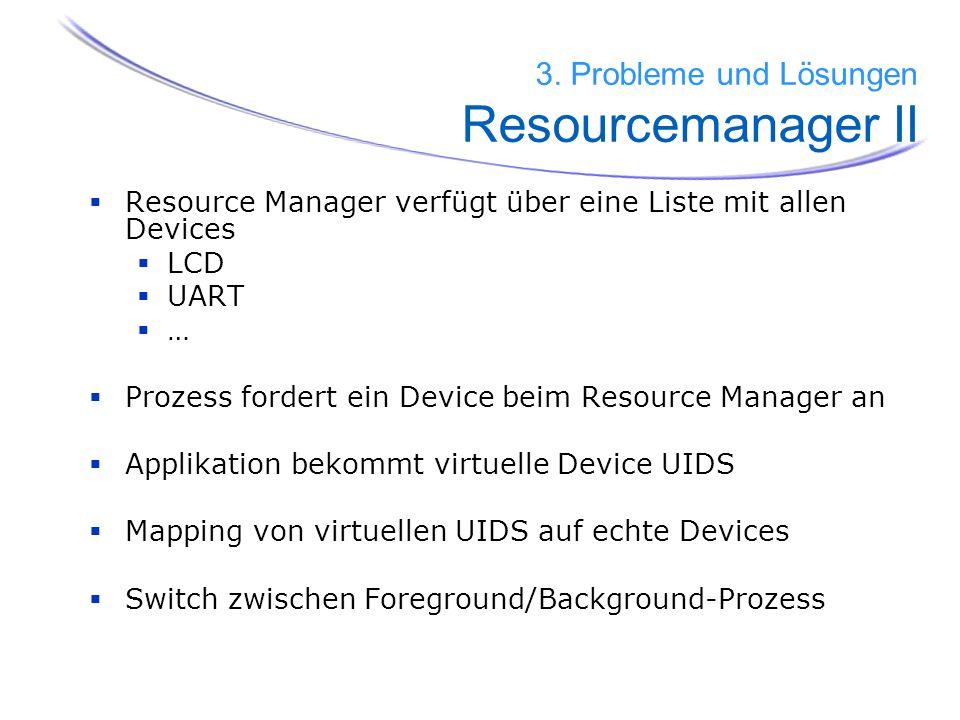 Resource Manager verfügt über eine Liste mit allen Devices LCD UART … Prozess fordert ein Device beim Resource Manager an Applikation bekommt virtuell