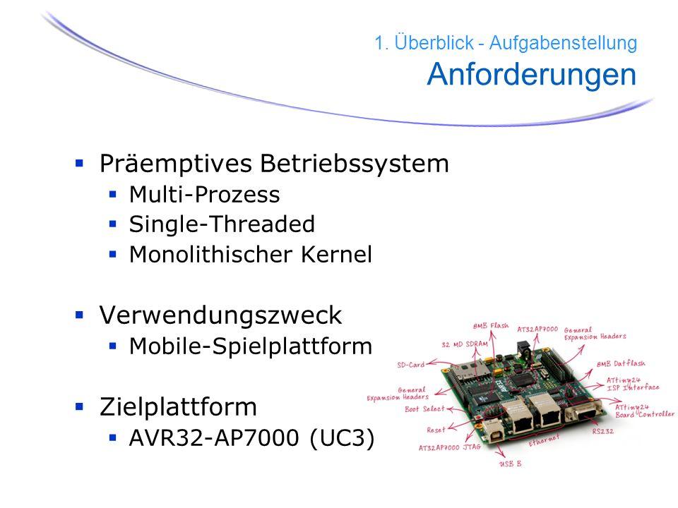 5 1. Überblick - Aufgabenstellung Anforderungen Präemptives Betriebssystem Multi-Prozess Single-Threaded Monolithischer Kernel Verwendungszweck Mobile