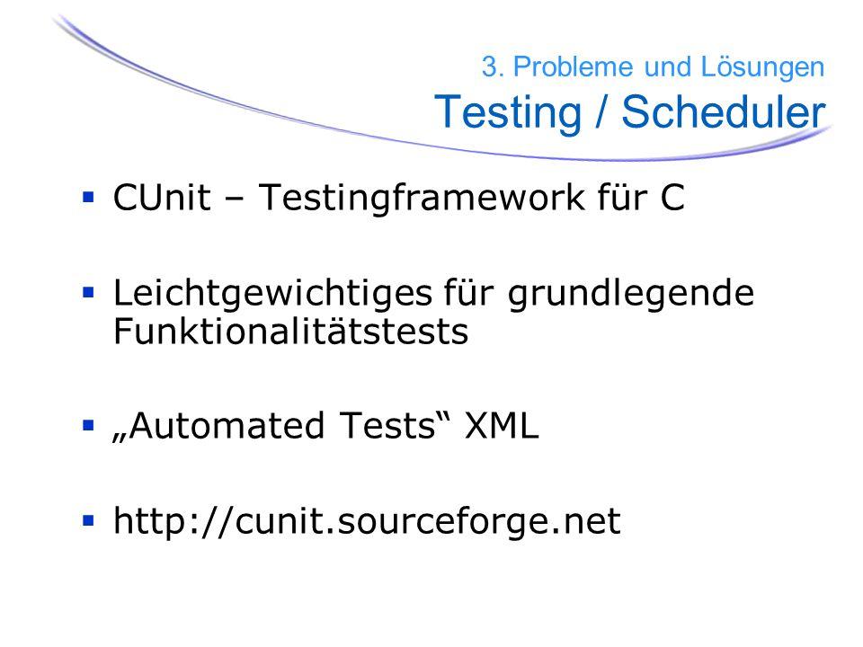 59 CUnit – Testingframework für C Leichtgewichtiges für grundlegende Funktionalitätstests Automated Tests XML http://cunit.sourceforge.net 3. Probleme