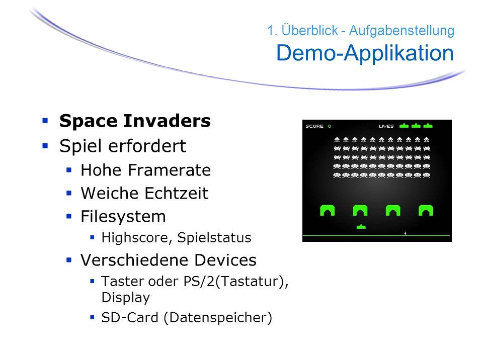 6 Space Invaders Spiel erfordert Hohe Framerate Weiche Echtzeit Filesystem Highscore, Spielstatus Verschiedene Devices Taster oder PS/2(Tastatur), Dis