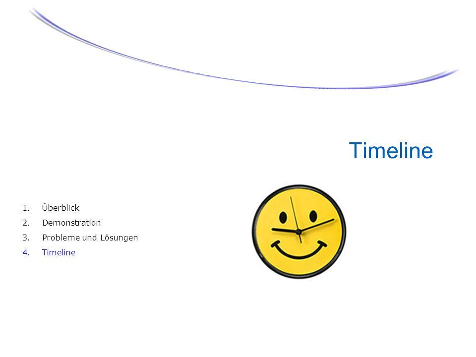 Timeline 1.Überblick 2.Demonstration 3.Probleme und Lösungen 4.Timeline