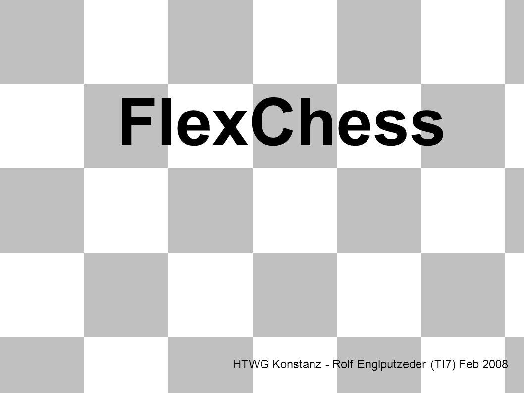 Überblick FlexibilitätQuellcodeKünstliche Intelligenz Todo C++ Projekt mit OpenGL nutzung Texturierte Modelle mit Blender modelliert Variables Regelwerk (XML) Veröffentlicht unter flexchess.googlecode.com