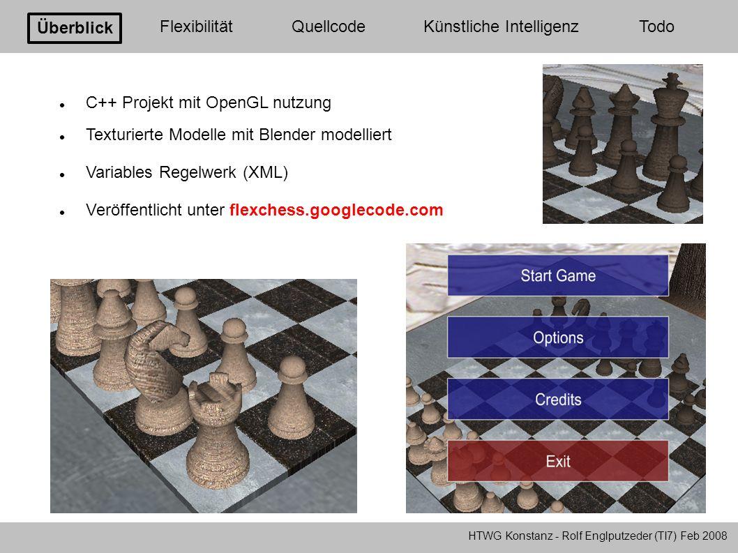 Überblick FlexibilitätQuellcodeKünstliche Intelligenz Todo C++ Projekt mit OpenGL nutzung Texturierte Modelle mit Blender modelliert Variables Regelwe