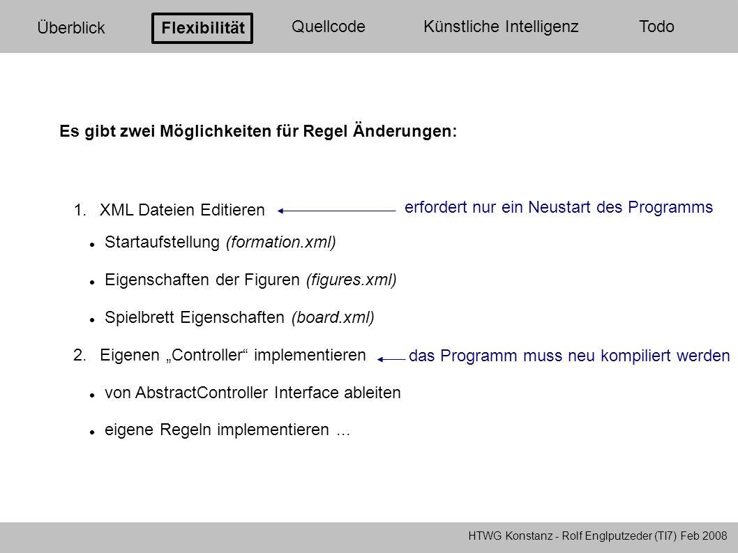 HTWG Konstanz - Rolf Englputzeder (TI7) Feb 2008 Überblick Flexibilität QuellcodeKünstliche Intelligenz Todo 1.XML Dateien Editieren Startaufstellung
