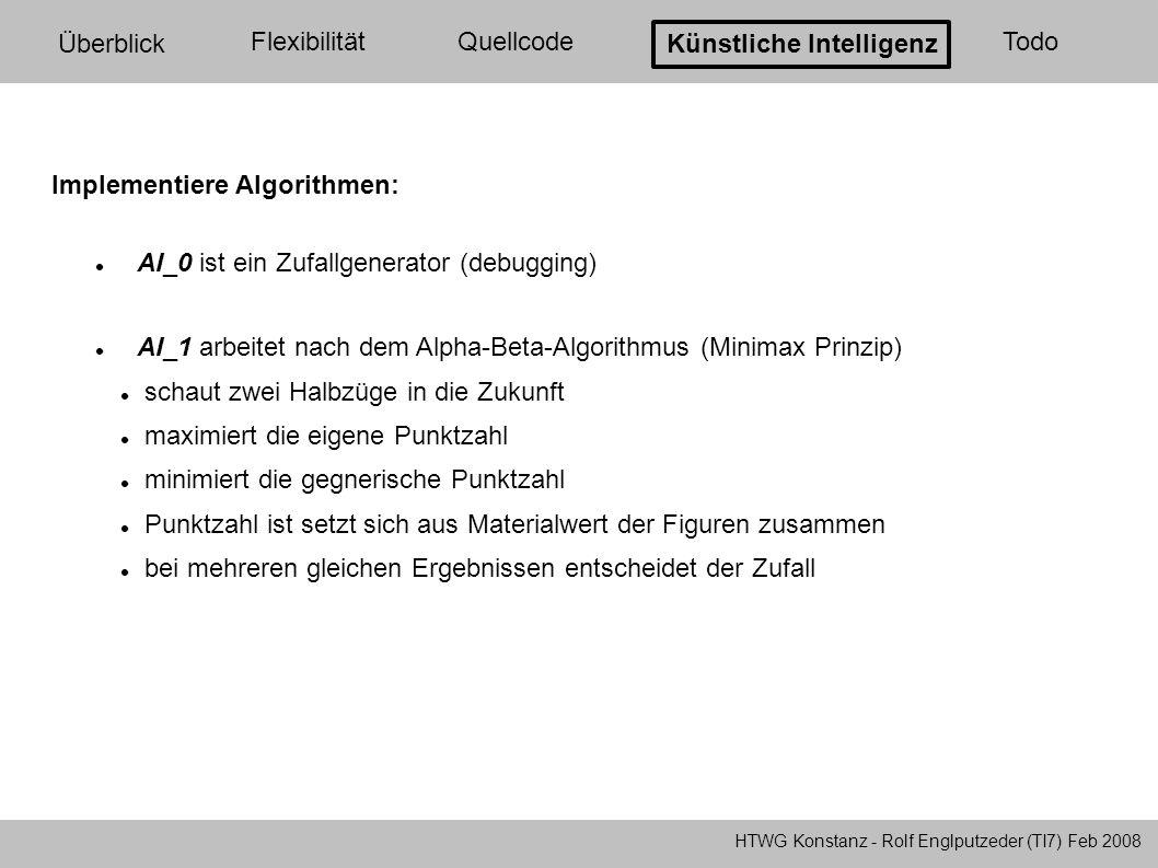 HTWG Konstanz - Rolf Englputzeder (TI7) Feb 2008 Überblick FlexibilitätQuellcode Künstliche Intelligenz Todo Alpha-Beta-Verfahren: +5 -2-3+6 +3+4-2+8+6+7...