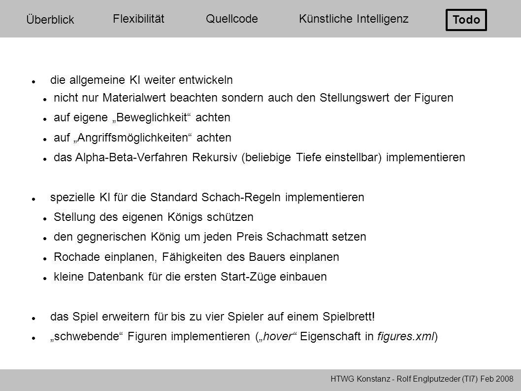 HTWG Konstanz - Rolf Englputzeder (TI7) Feb 2008 Überblick FlexibilitätQuellcodeKünstliche Intelligenz Todo die allgemeine KI weiter entwickeln nicht