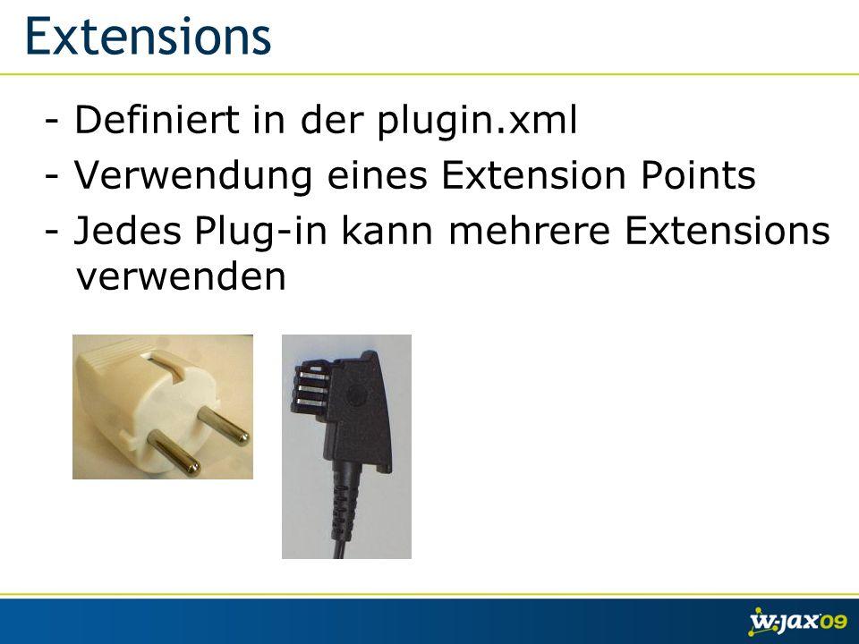 - Definiert in der plugin.xml - Verwendung eines Extension Points - Jedes Plug-in kann mehrere Extensions verwenden Extensions