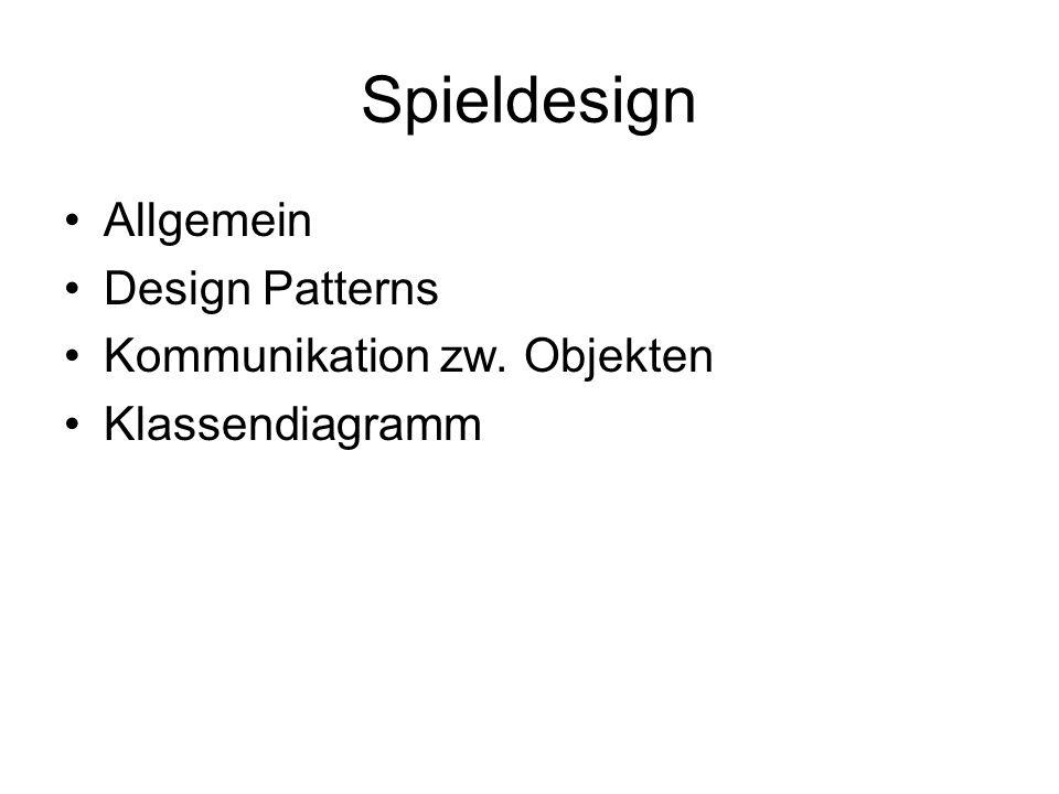 Spieldesign Allgemein Design Patterns Kommunikation zw. Objekten Klassendiagramm