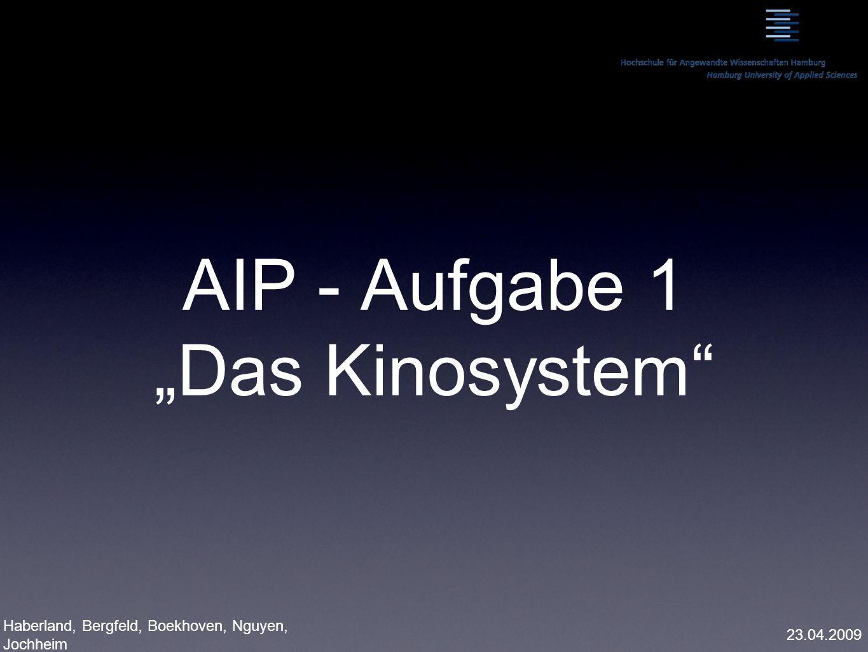 AIP - Aufgabe 1 Das Kinosystem Haberland, Bergfeld, Boekhoven, Nguyen, Jochheim 23.04.2009