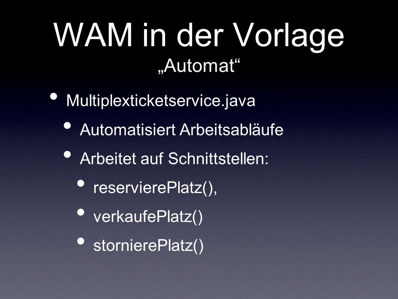 WAM in der Vorlage Automat Multiplexticketservice.java Automatisiert Arbeitsabläufe Arbeitet auf Schnittstellen: reservierePlatz(), verkaufePlatz() st