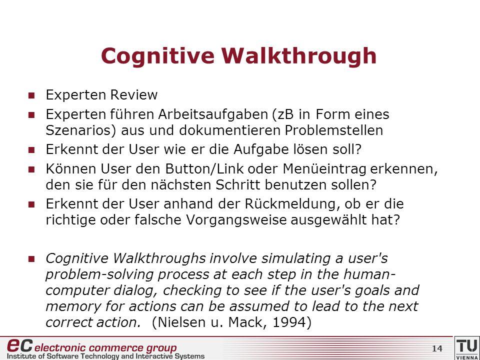 Cognitive Walkthrough Experten Review Experten führen Arbeitsaufgaben (zB in Form eines Szenarios) aus und dokumentieren Problemstellen Erkennt der Us