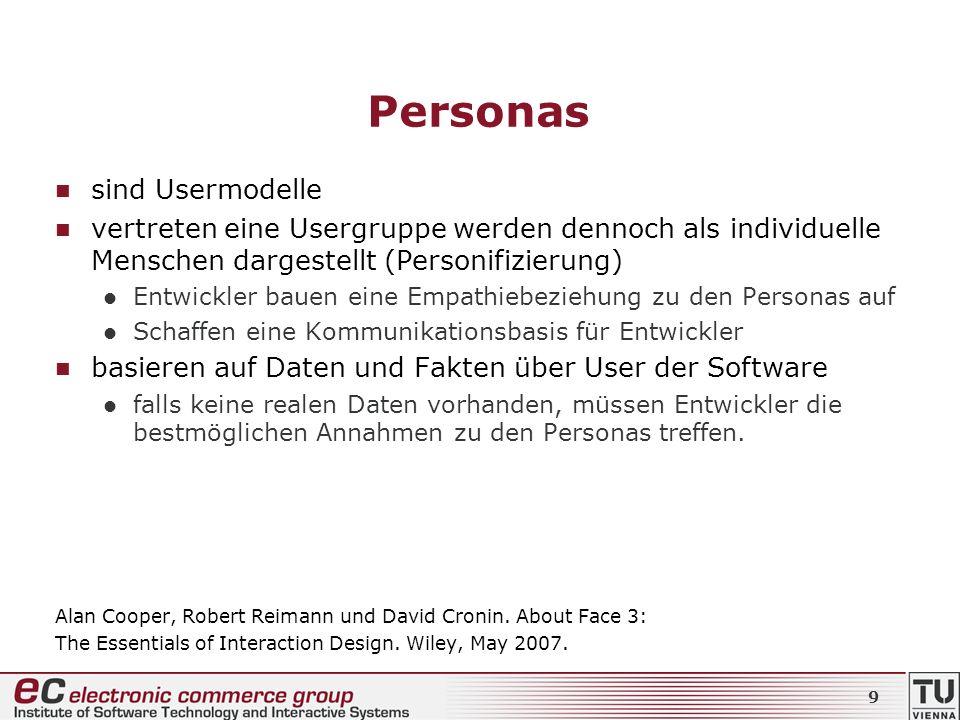 Personas sind Usermodelle vertreten eine Usergruppe werden dennoch als individuelle Menschen dargestellt (Personifizierung) Entwickler bauen eine Empa