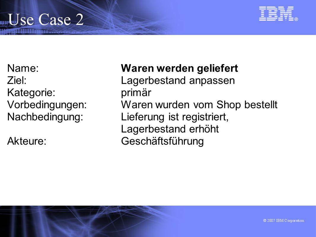 Use Case 2 Name: Waren werden geliefert Ziel: Lagerbestand anpassen Kategorie: primär Vorbedingungen: Waren wurden vom Shop bestellt Nachbedingung: Lieferung ist registriert, Lagerbestand erhöht Akteure: Geschäftsführung