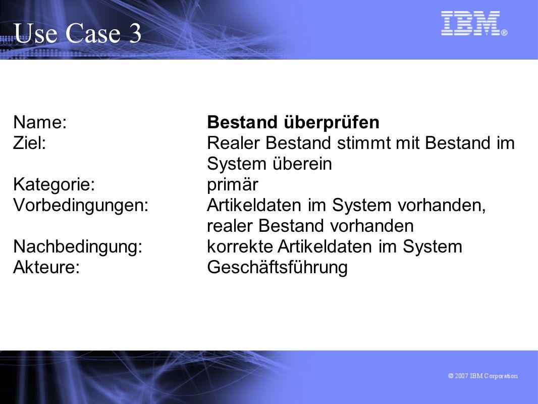 Use Case 3 Name: Bestand überprüfen Ziel: Realer Bestand stimmt mit Bestand im System überein Kategorie: primär Vorbedingungen: Artikeldaten im System vorhanden, realer Bestand vorhanden Nachbedingung: korrekte Artikeldaten im System Akteure: Geschäftsführung
