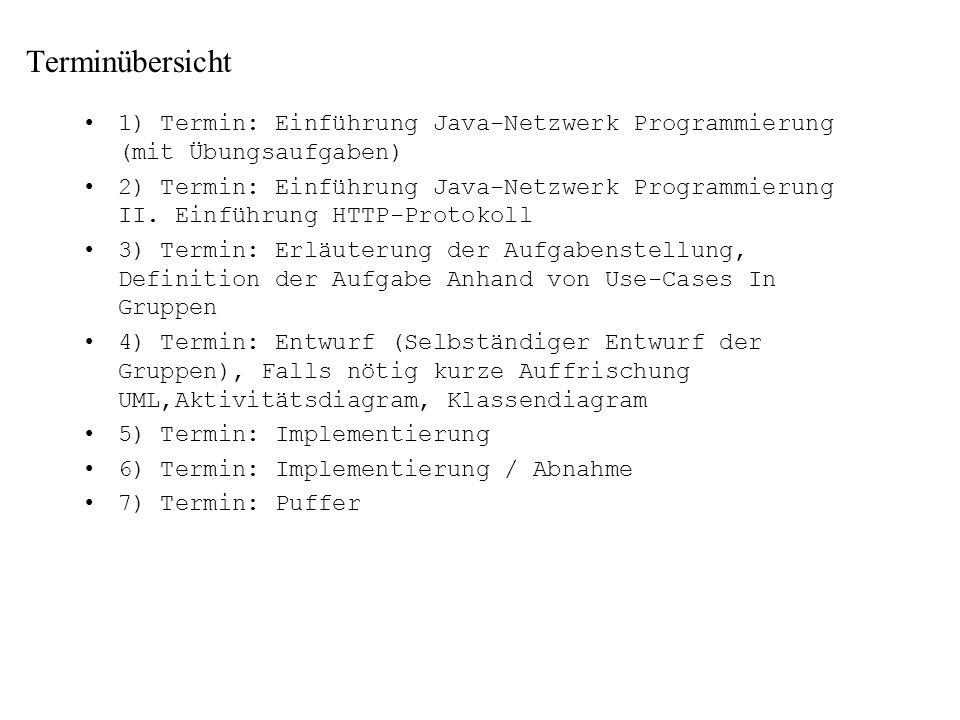 Terminübersicht 1) Termin: Einführung Java-Netzwerk Programmierung (mit Übungsaufgaben) 2) Termin: Einführung Java-Netzwerk Programmierung II. Einführ