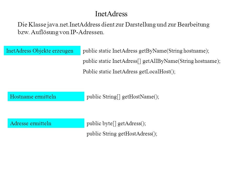 InetAdress Die Klasse java.net.InetAddress dient zur Darstellung und zur Bearbeitung bzw. Auflösung von IP-Adressen. InetAdress Objekte erzeugenpublic
