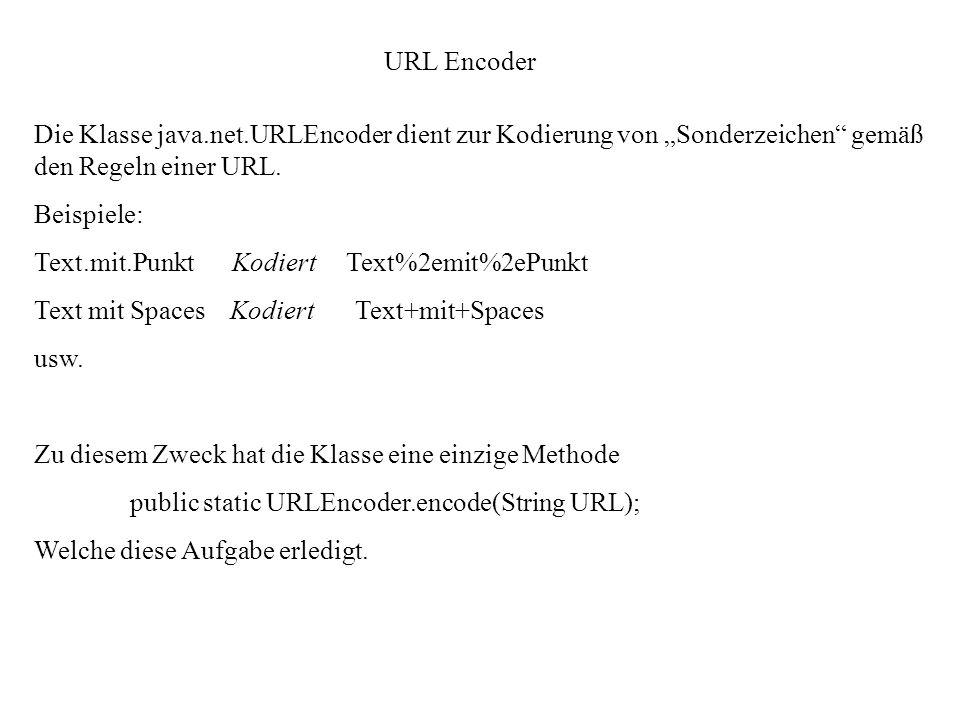URL Encoder Die Klasse java.net.URLEncoder dient zur Kodierung von Sonderzeichen gemäß den Regeln einer URL. Beispiele: Text.mit.Punkt Kodiert Text%2e
