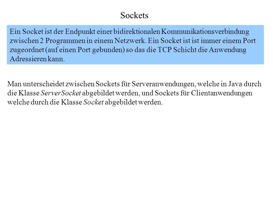 Sockets Ein Socket ist der Endpunkt einer bidirektionalen Kommunikationsverbindung zwischen 2 Programmen in einem Netzwerk. Ein Socket ist ist immer e