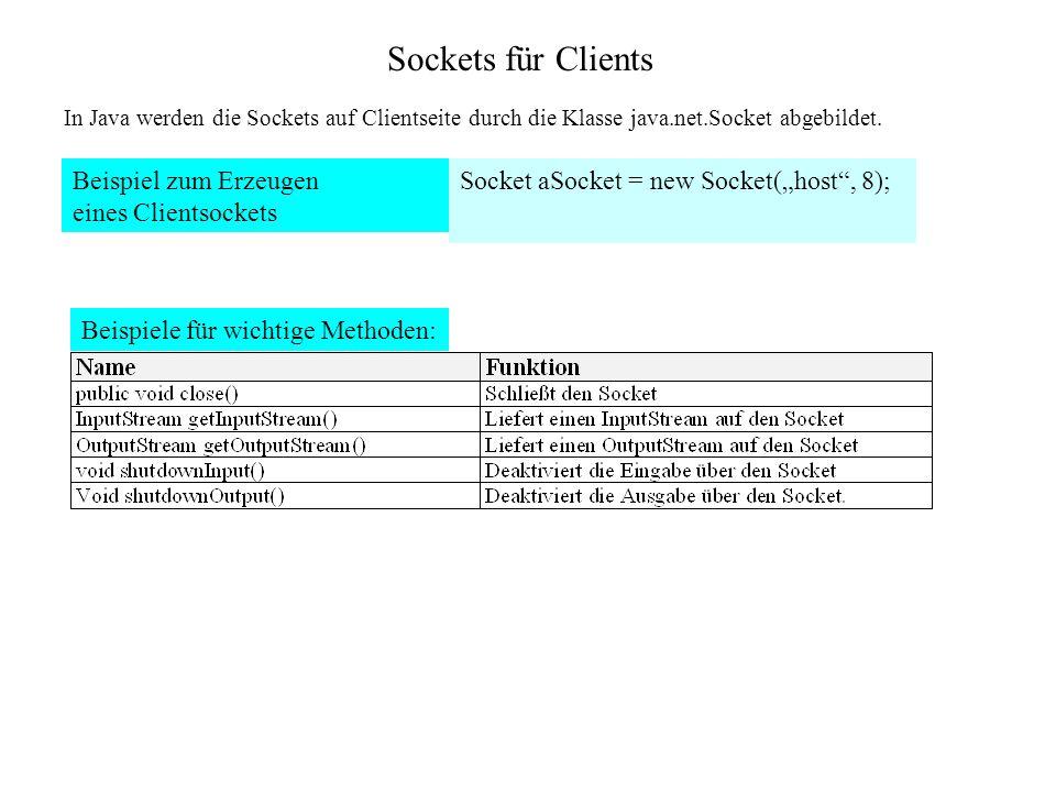 Sockets für Clients In Java werden die Sockets auf Clientseite durch die Klasse java.net.Socket abgebildet. Beispiel zum Erzeugen eines Clientsockets