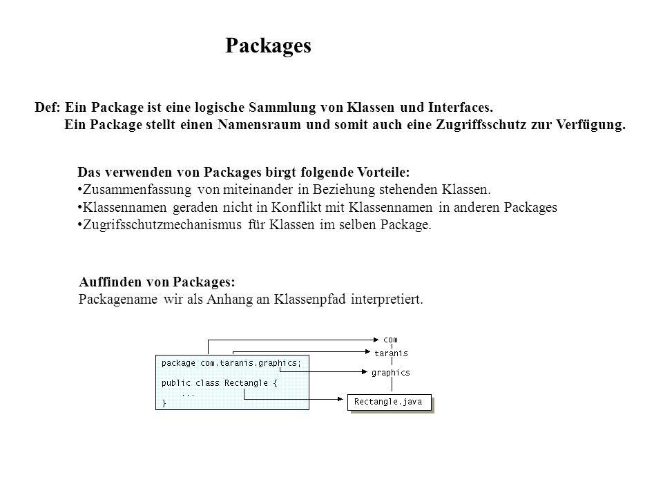 Packages Def: Ein Package ist eine logische Sammlung von Klassen und Interfaces. Ein Package stellt einen Namensraum und somit auch eine Zugriffsschut