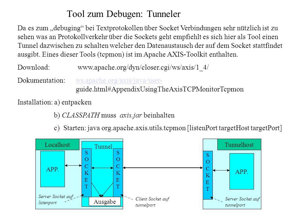 Tool zum Debugen: Tunneler Da es zum debuging bei Textprotokollen über Socket Verbindungen sehr nützlich ist zu sehen was an Protokollverkehr über die