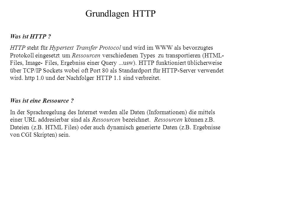 Grundlagen HTTP Was ist HTTP ? HTTP steht für Hypertext Transfer Protocol und wird im WWW als bevorzugtes Protokoll eingesetzt um Ressourcen verschied