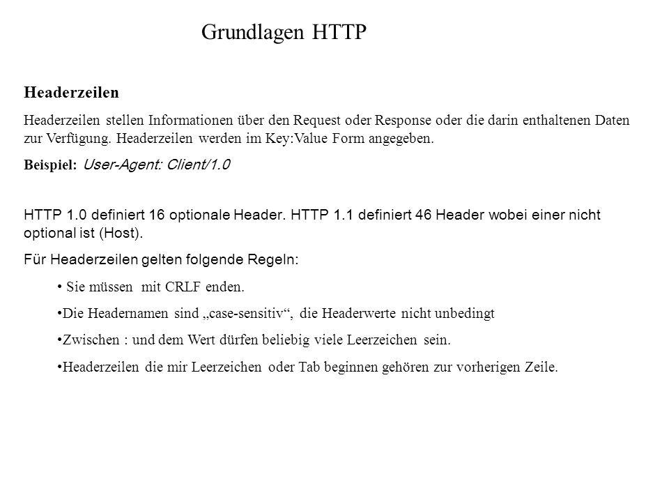 Grundlagen HTTP Headerzeilen Headerzeilen stellen Informationen über den Request oder Response oder die darin enthaltenen Daten zur Verfügung. Headerz