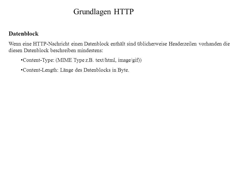 Grundlagen HTTP Datenblock Wenn eine HTTP-Nachricht einen Datenblock enthält sind üblicherweise Headerzeilen vorhanden die diesen Datenblock beschreib