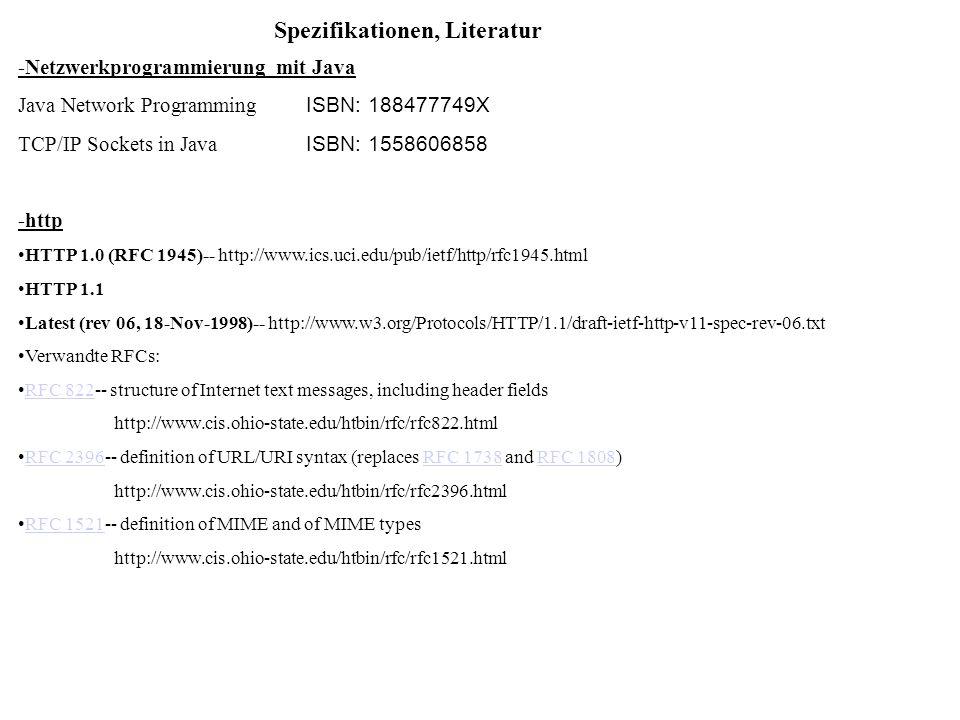 Spezifikationen, Literatur -Netzwerkprogrammierung mit Java Java Network Programming ISBN: 188477749X TCP/IP Sockets in Java ISBN: 1558606858 -http HT