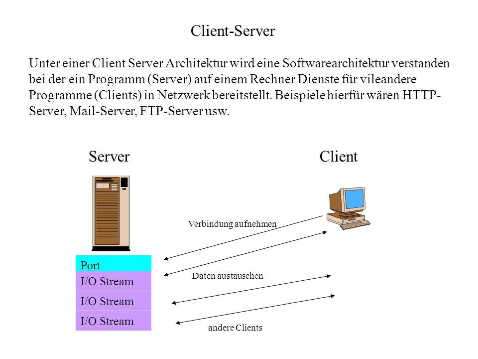 Client-Server Unter einer Client Server Architektur wird eine Softwarearchitektur verstanden bei der ein Programm (Server) auf einem Rechner Dienste f