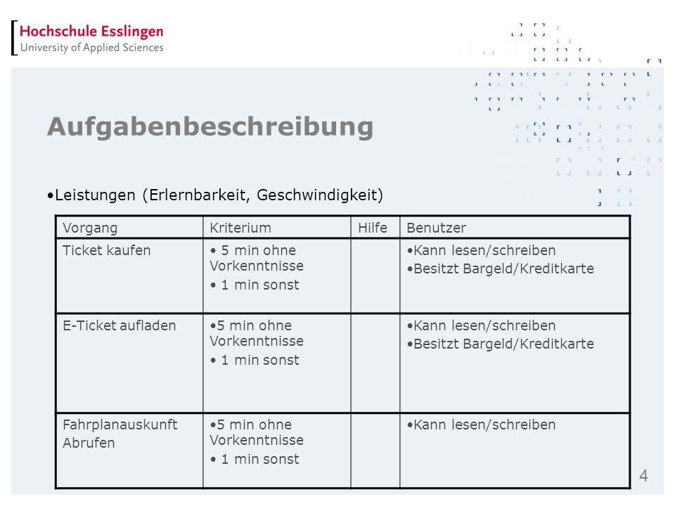 4 Aufgabenbeschreibung Leistungen (Erlernbarkeit, Geschwindigkeit) VorgangKriteriumHilfeBenutzer Ticket kaufen 5 min ohne Vorkenntnisse 1 min sonst Ka