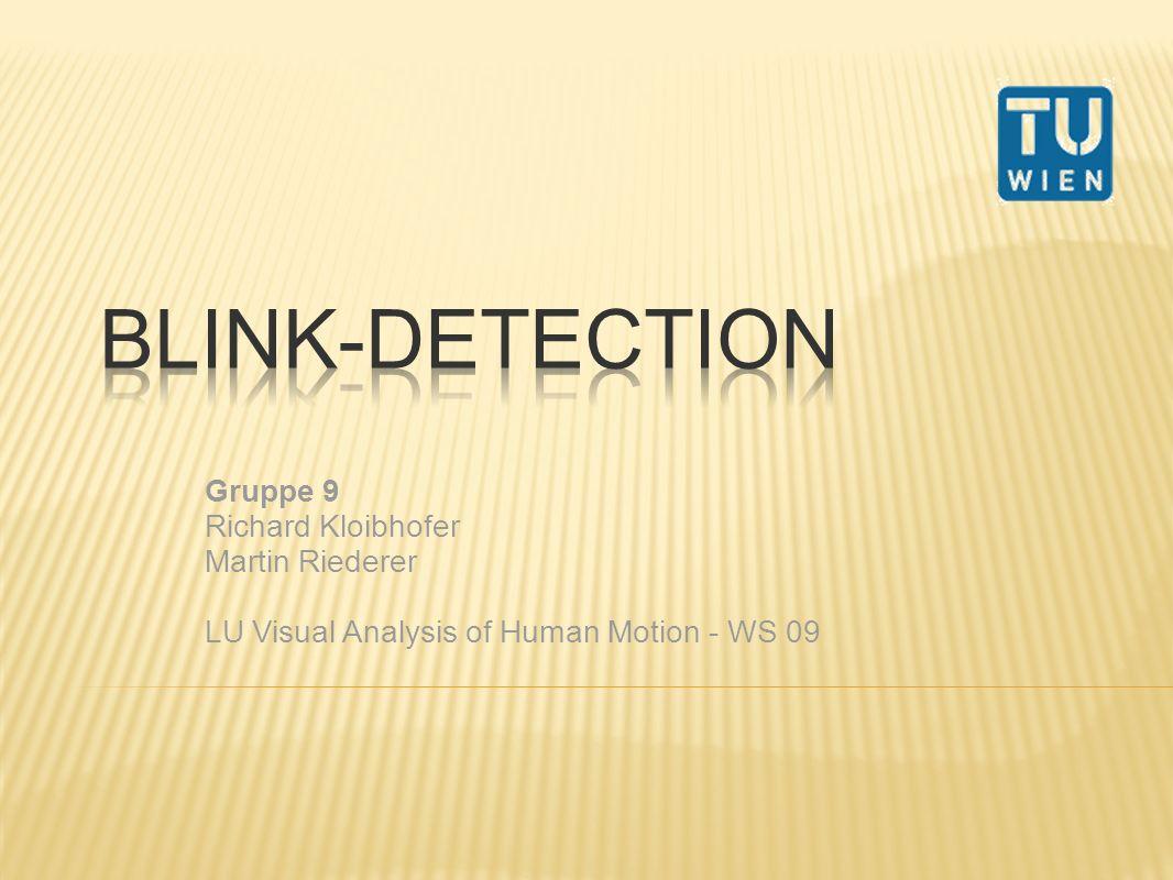 Blink Detection bei bestimmter Dauer werden Aktionen gestartet Programmterminierung Entwicklungsumgebung: Matlab Algorithmus orientiert sich an folgender Arbeit: Real Time Eye Tracking and Blink Detection with USB Cameras Autor: Michael Chau and Margrit Betke