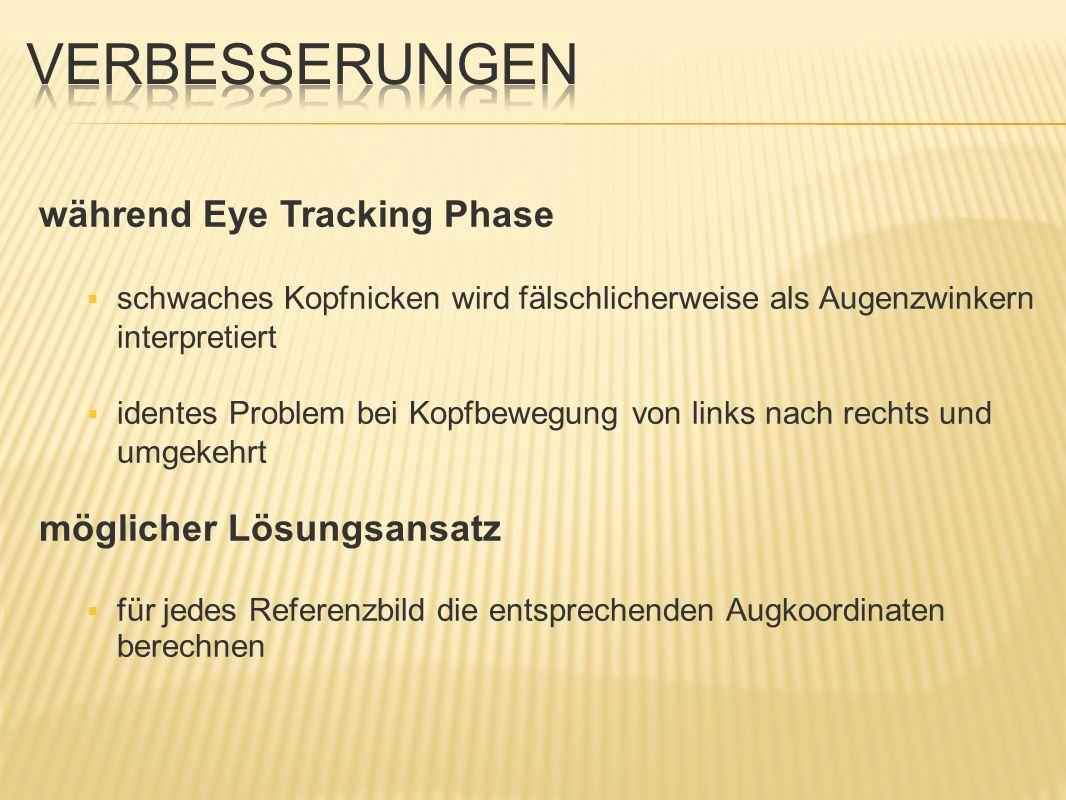 während Eye Tracking Phase schwaches Kopfnicken wird fälschlicherweise als Augenzwinkern interpretiert identes Problem bei Kopfbewegung von links nach