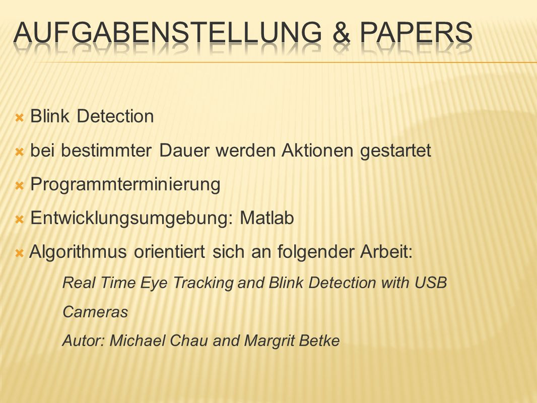 Blink Detection bei bestimmter Dauer werden Aktionen gestartet Programmterminierung Entwicklungsumgebung: Matlab Algorithmus orientiert sich an folgender Arbeit: Real Time Eye Tracking and Blink Detection with USB Cameras Autor: Michael Chau and Margrit Betke