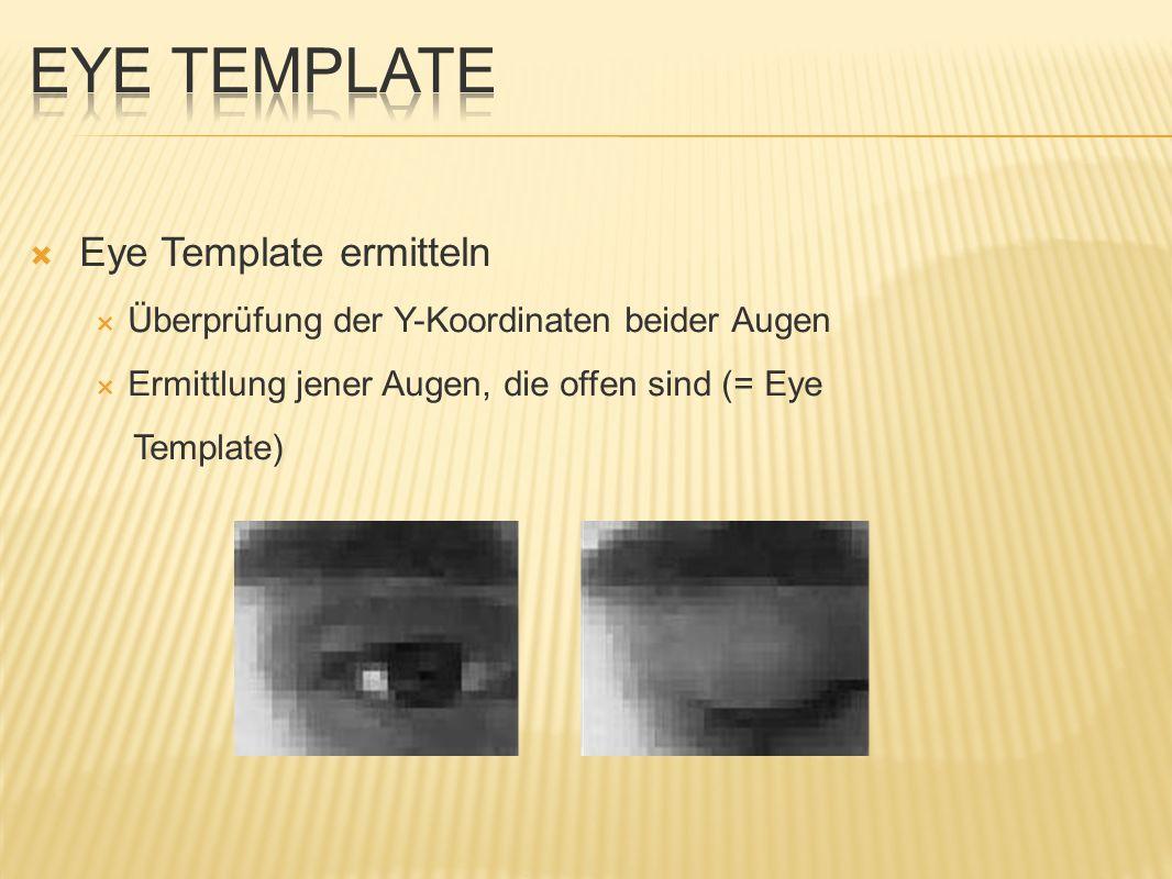 Augenregionen der Bilder mit Eye Template vergleichen Korrelationskoeffizient >= Schwellwert Augenregionen ident Start eines Timers bei bestimmter Dauer werden verschiedene Audiofiles abgespielt bzw.