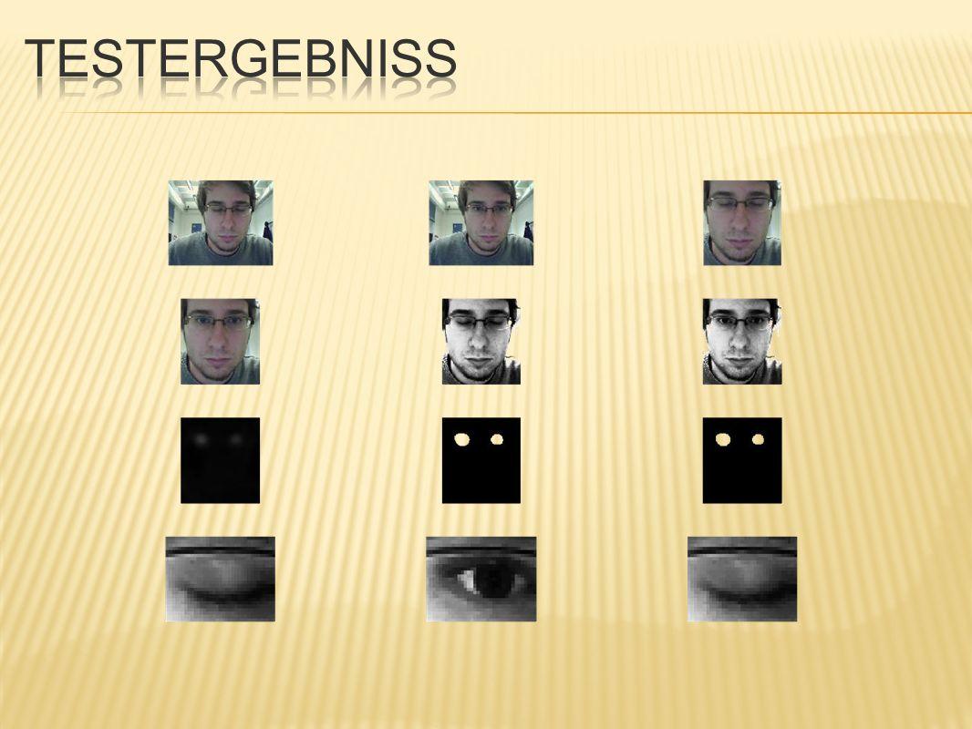 während Eye Tracking Phase schwaches Kopfnicken wird fälschlicherweise als Augenzwinkern interpretiert identes Problem bei Kopfbewegung von links nach rechts und umgekehrt möglicher Lösungsansatz für jedes Referenzbild die entsprechenden Augkoordinaten berechnen