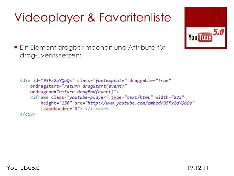 Videoplayer & Favoritenliste Ein Element dragbar machen und Attribute für drag-Events setzen: 19.12.11YouTube5.0 15