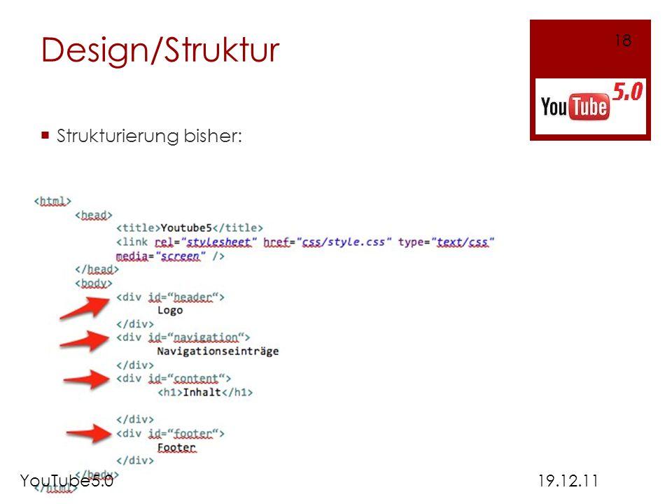 Design/Struktur Strukturierung bisher: 19.12.11 18 YouTube5.0