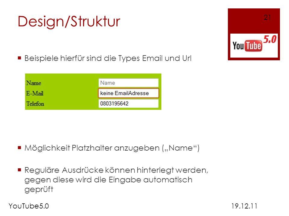 Design/Struktur Beispiele hierfür sind die Types Email und Url Möglichkeit Platzhalter anzugeben (Name) Reguläre Ausdrücke können hinterlegt werden, g