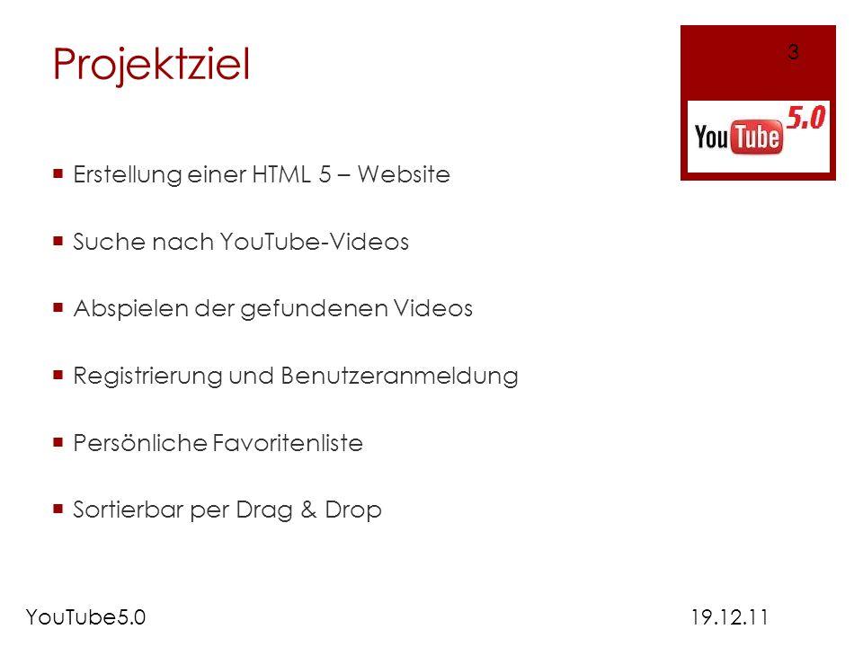 Projektziel Erstellung einer HTML 5 – Website Suche nach YouTube-Videos Abspielen der gefundenen Videos Registrierung und Benutzeranmeldung Persönlich