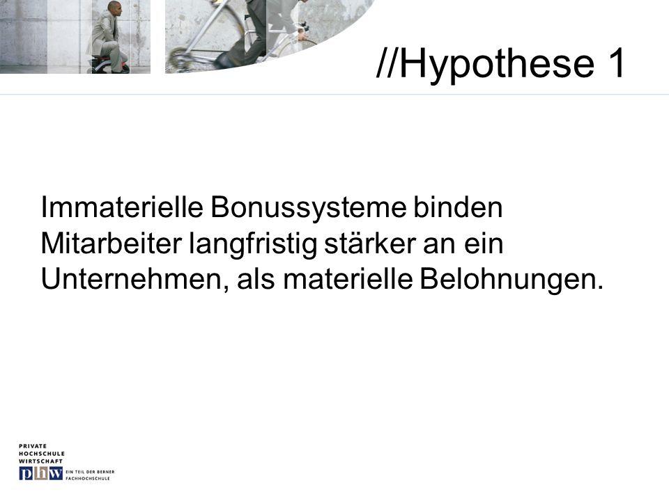 //Hypothese 1 Immaterielle Bonussysteme binden Mitarbeiter langfristig stärker an ein Unternehmen, als materielle Belohnungen.