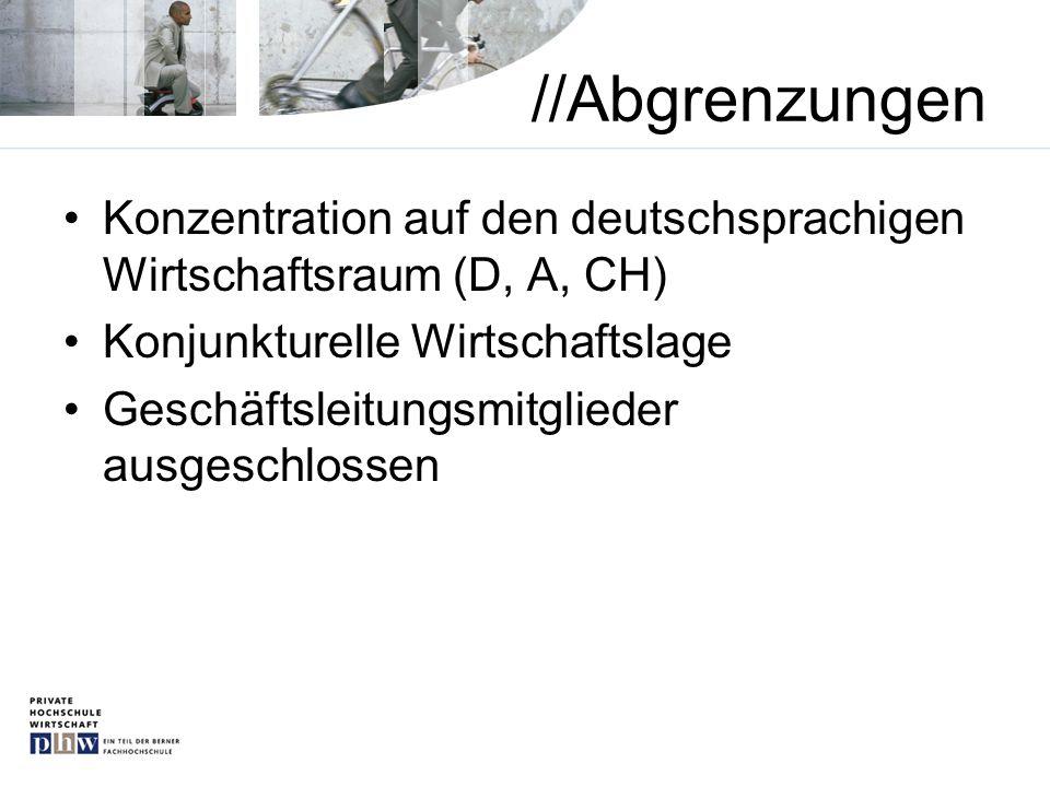//Abgrenzungen Konzentration auf den deutschsprachigen Wirtschaftsraum (D, A, CH) Konjunkturelle Wirtschaftslage Geschäftsleitungsmitglieder ausgeschl