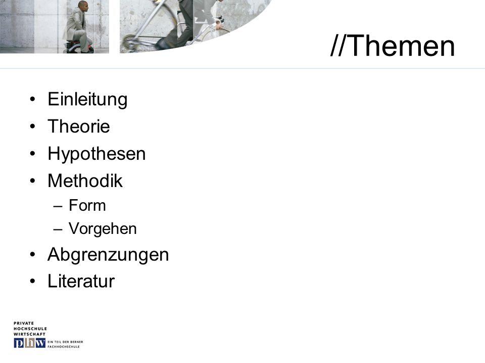 //Themen Einleitung Theorie Hypothesen Methodik –Form –Vorgehen Abgrenzungen Literatur