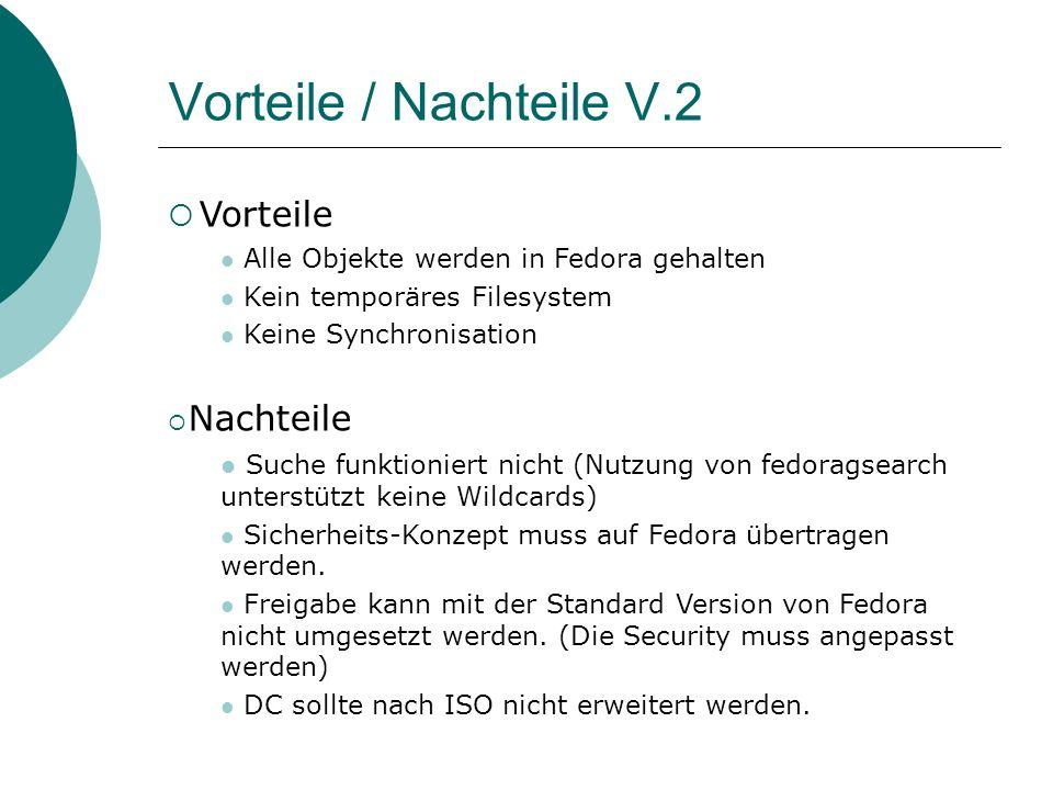 Vorteile / Nachteile V.2 Vorteile Alle Objekte werden in Fedora gehalten Kein temporäres Filesystem Keine Synchronisation Nachteile Suche funktioniert nicht (Nutzung von fedoragsearch unterstützt keine Wildcards) Sicherheits-Konzept muss auf Fedora übertragen werden.