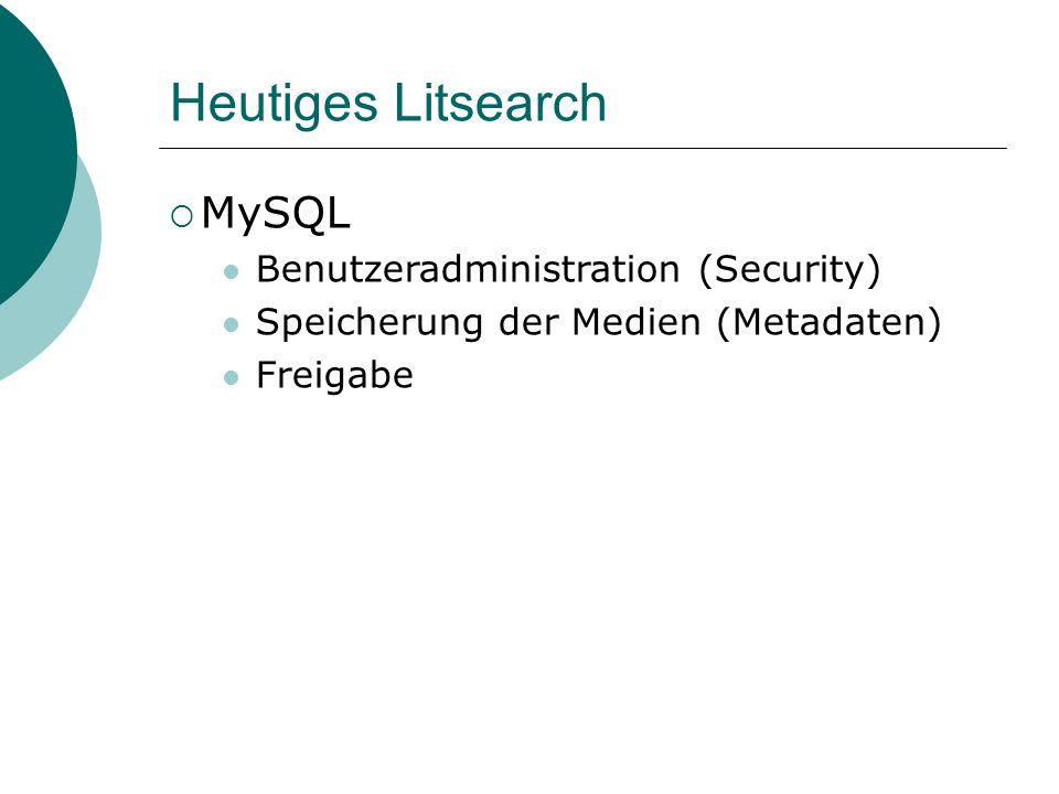 Heutiges Litsearch MySQL Benutzeradministration (Security) Speicherung der Medien (Metadaten) Freigabe