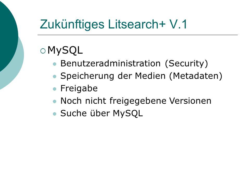 Zukünftiges Litsearch+ V.1 MySQL Benutzeradministration (Security) Speicherung der Medien (Metadaten) Freigabe Noch nicht freigegebene Versionen Suche