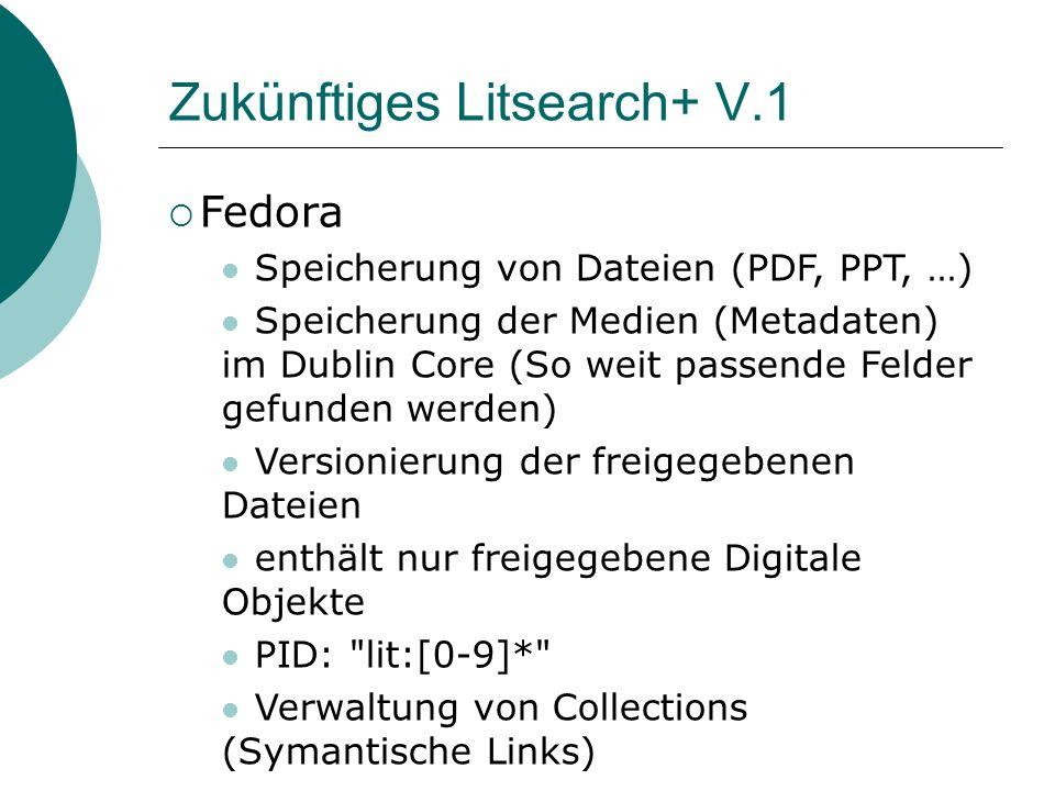 Zukünftiges Litsearch+ V.1 Fedora Speicherung von Dateien (PDF, PPT, …) Speicherung der Medien (Metadaten) im Dublin Core (So weit passende Felder gefunden werden) Versionierung der freigegebenen Dateien enthält nur freigegebene Digitale Objekte PID: lit:[0-9]* Verwaltung von Collections (Symantische Links)