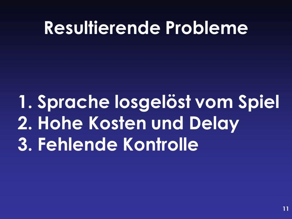 11 1. Sprache losgelöst vom Spiel 2. Hohe Kosten und Delay 3. Fehlende Kontrolle Resultierende Probleme