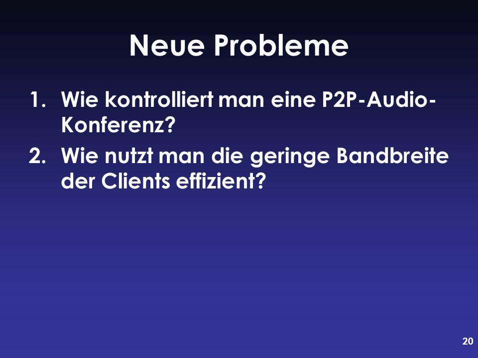20 Neue Probleme 1.Wie kontrolliert man eine P2P-Audio- Konferenz? 2.Wie nutzt man die geringe Bandbreite der Clients effizient?